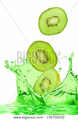 The kiwi falls in own juice on white