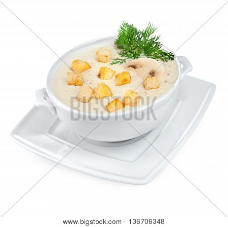 Mushroom soup isolated on a white background