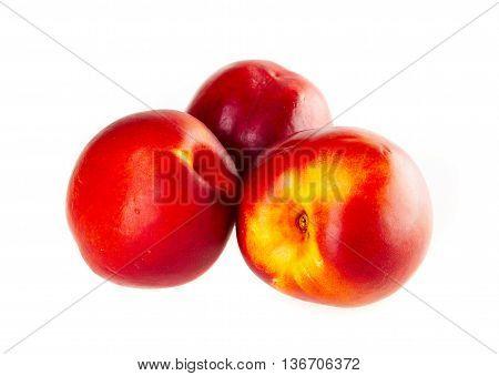 Fresh nectarines isolated on a white background