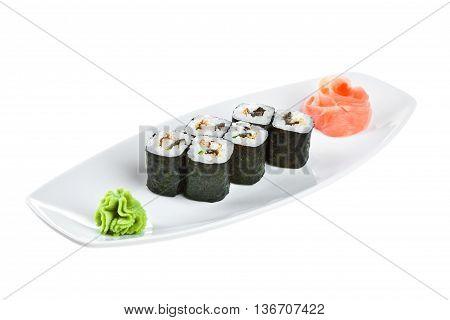 Sushi (unagi Roll) On A White Background