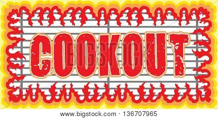 Cookout With Flames Design is an illustration of a cookout or barbecue design with a grill and frame shape made of flames or fire. Great for cookout or barbecue flyers, invitations or t-shirts.