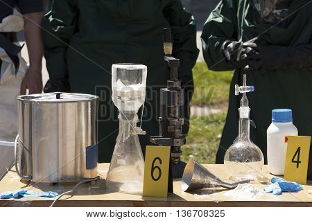 Illegal methamphetamine home laboratory. Clandestine chemistry. Drug enforcement team uncovers meth lab.