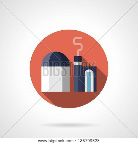 Abstract metallurgy plant. Heavy industry objects. Factories and industrial facilities. Round flat color style vector icon.