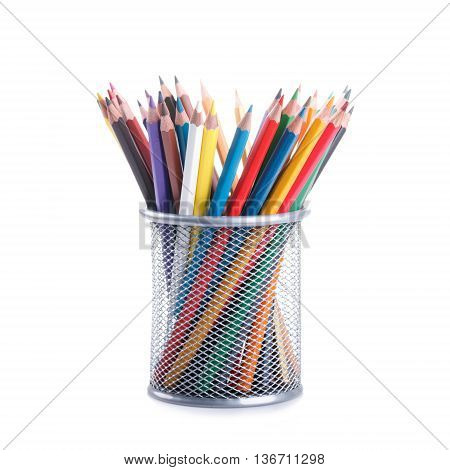 Colors Pencils In A Basket Container