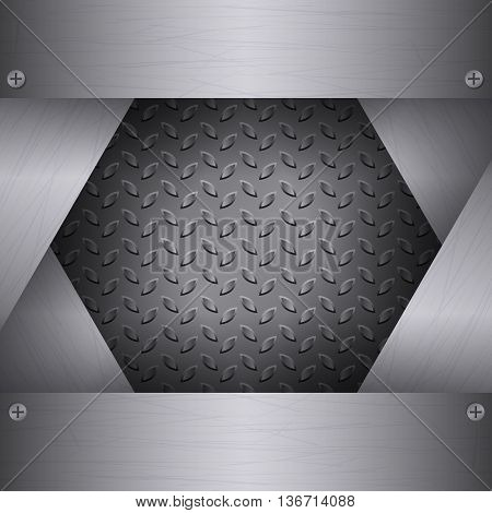 Dark Metal Background with plates and rivets. Brushed Steel iron aluminum surface template. Metallic grunge texture. Abstract techno vector illustration.