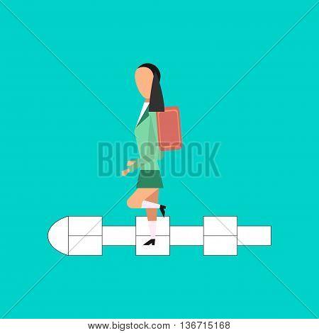flat icon on stylish background school Schoolgirl hopscotch
