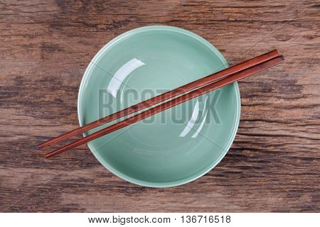 Chopsticks And Black Bowl