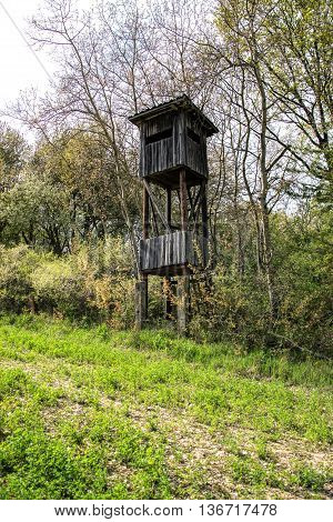Wooden lookout tower for hunting in the woods