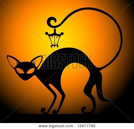 black cat with lamp on a dark background for a design poster