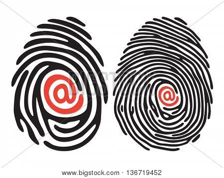 set of black finger print with email sign. Vector illustration