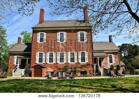 Hillsborough North Carolina - April 20 2016: South front of 1815 Ayr Mount Plantation home of William Kirkland