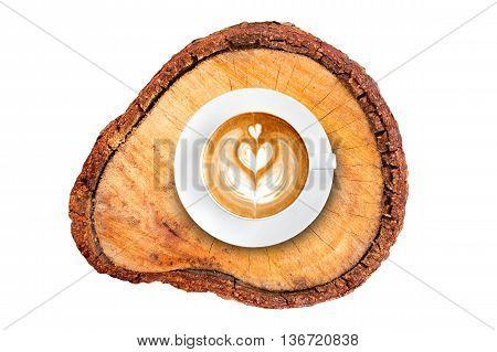 Top View Latte Art Coffee On Wood