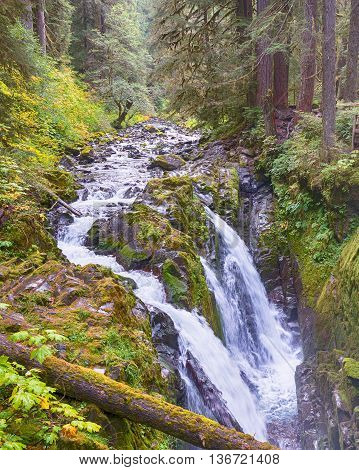 Triple cascade on Sol Duc River Falls, on the High Divide/Seven Lakes Trail in Olympic National Park, near Port Angeles, Washington.
