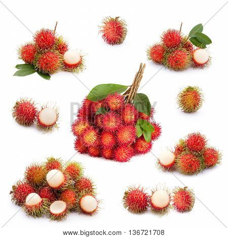 Rambutan Fruit Collection On White Background
