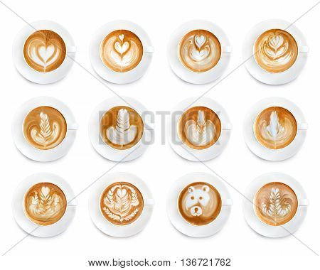 Latte Art Coffee Isolated On White Background.