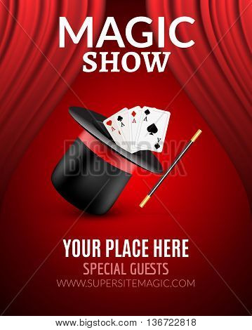 Magic Show poster design template. Magic show flyer design with magic hat and curtains.
