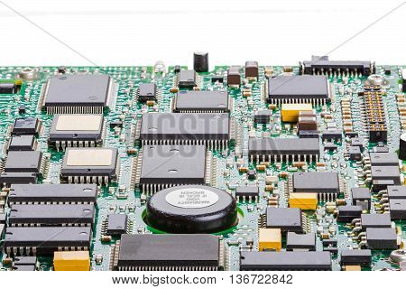 Stacked images to produce a focus stacked image of a circuit board