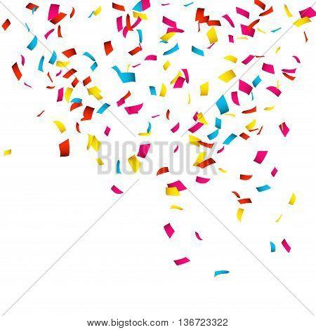 Colorful Confetti isolated on white. Confetti explosion.