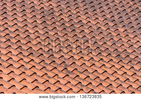Pattern of clay roof tiles in detail