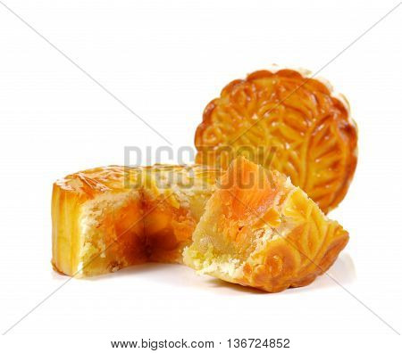 Mooncakes for Chinese Moon Festival isolated on white background.