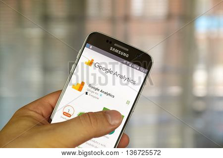MONTREAL CANADA - JUNE 23 2016 : Google analytics application on Samsung S7 screen. Google Analytics is a freemium web analytics service offered by Google that tracks and reports website traffic.
