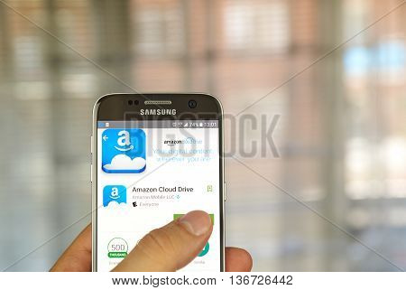 MONTREAL CANADA - JUNE 24 2016 : Amazon Cloud Drive application on Samsung S7 screen. Amazon Cloud Drive is a web storage application from Amazon.