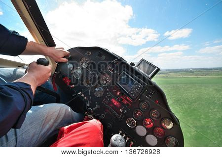 Two pilots flying a small private light plane