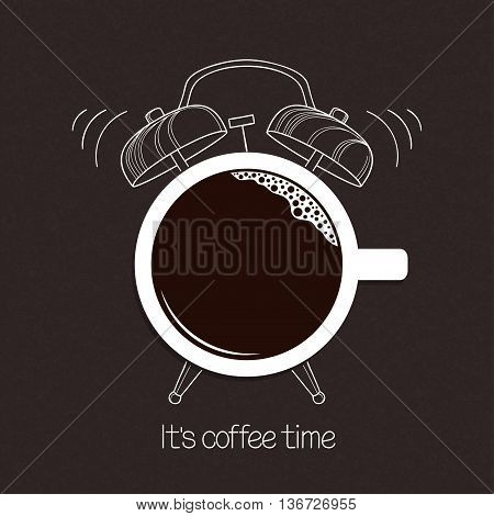 Cup of coffee with hand drawn alarm clock over blackboard background. Break time good morning drinks menu design concept