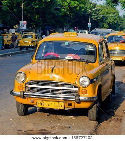 Yellow Taxi Cabs  In Kolkata, India.