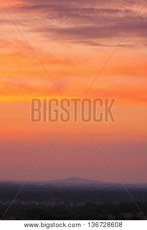 Calm dusk in Holy Cross Mountains, Poland