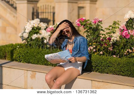 Beautiful Young Woman In The Summer City
