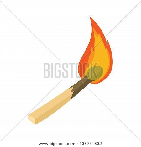 Burning match icon in cartoon style isolated on white background. Ignition symbol