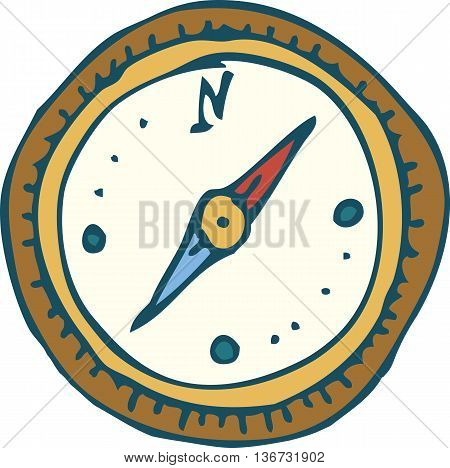 Vintage Marine Compass with Red and Blue Needles. Isolated On A White Background