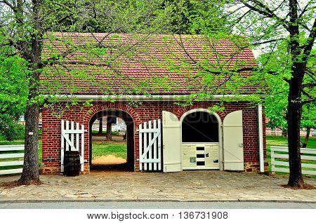Old Salem North Carolina - April 21 2016: Market Fire Engine House on Main Street *