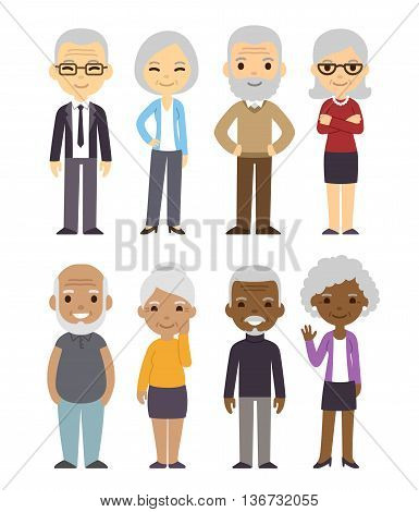 Diverse cartoon senior couples set. Happy old people men and women asian black and white. Isolated flat vector illustration.