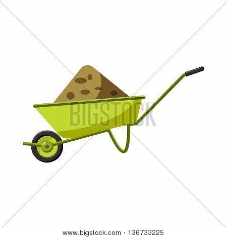 Garden wheelbarrow icon in cartoon style isolated on white background. Gardening symbol