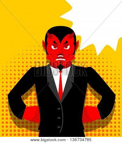 Angry Devil. Satan Is Not Happy. Angry Red Demon. Lucifer Is Furious. Lord Of Hell In Pop Art Style.