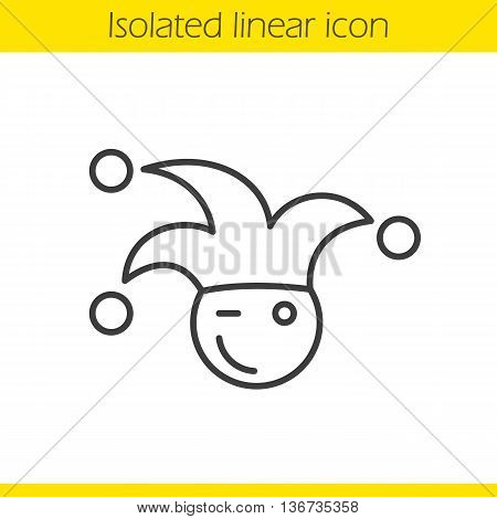 Jester linear icon. Winking clown thin line illustration. April fools day buffoon. Contour symbol. Vector isolated outline drawing