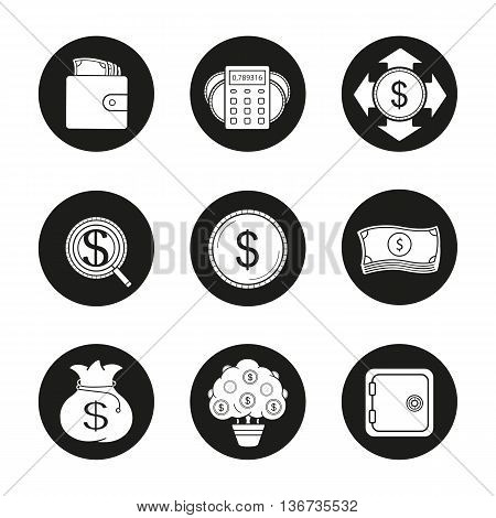Banking and finance icons set. Purse with banknotes calculations money spending investors search dollar coin and bills stack money bag money tree. Vector white illustrations in black circles