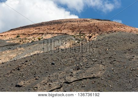 Top view volcano at Vulcano one of the Aeolian Islands near Sicily Italy