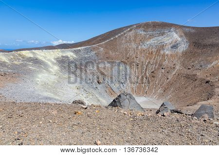 View at volcano and crater at Vulcano Aeolian Islands near Sicily Italy