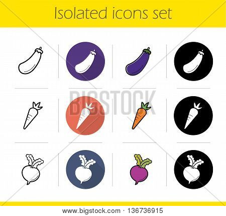 Vegetables icons set. Flat design linear black and color styles. Eggplant beet and carrot. Aubergine and turnip isolated vector illustrations