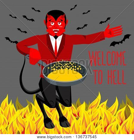 Welcome To Hell. Devil Holding Frying Pan For Sinners. Satan Invites In Purgatory. Red Demon With Ho