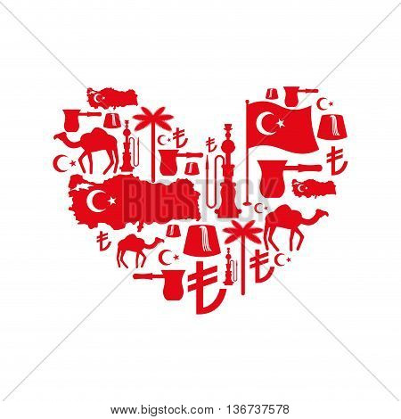 I love Turkey. Sign heart of traditional Turkish folk characters. Map and flag of country. Turk and Turkish Liras Symbol. Camels and palm trees. Fez and hookah. Turkish National Patriotic emblem. poster