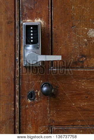 Electronic Door Handle With Numeric Buttons On Old Door