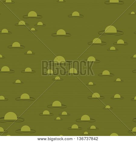 Swamp Seamless Pattern. Big Green Morass Texture. Bubbles On Background Marsh Mire