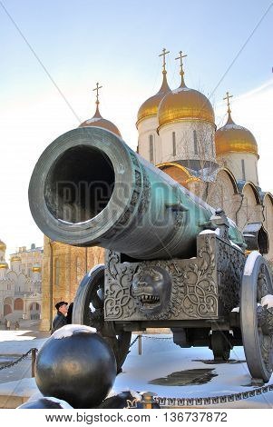 MOSCOW - FEBRUARY 10, 2015:Tsar Cannon (King Cannon) in Moscow Kremlin in winter. UNESCO World Heritage Site.