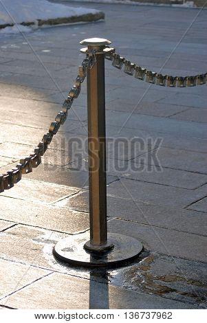 Metallic chain aroung Tsar Cannon in Moscow Kremlin, popular touristic landmark. UNESCO World Heritage Site.