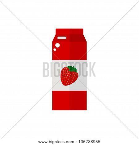 Pack of juice. Strawberry pack of juice icon isolated on white background. Fresh strawberry juice. Flat style vector illustration.