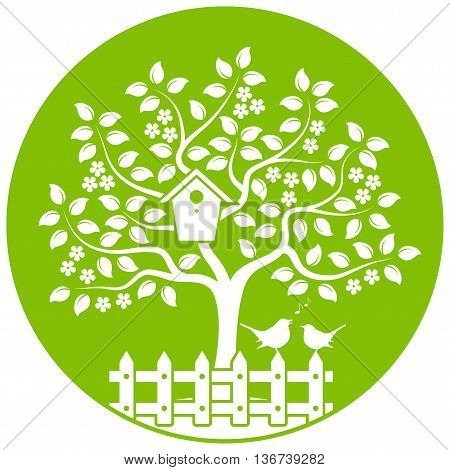 vector flowering tree with nesting bird box and picket fence with couple of birds isolated on green round